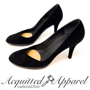 Stuart Weitzman Black Leather Suede Heels 6.5N